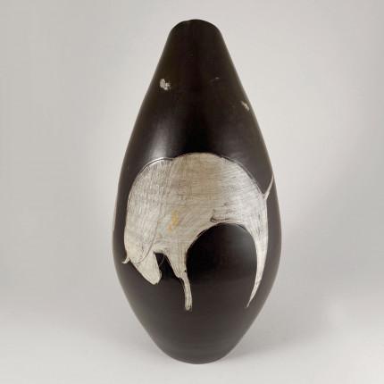 Vintage mid-century ceramic vase with buffalos