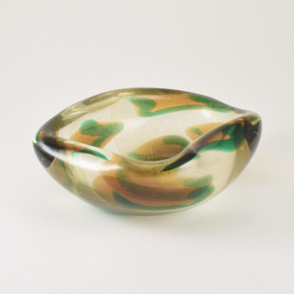 Murano bowl Archimede Seguso macchie ambre verde