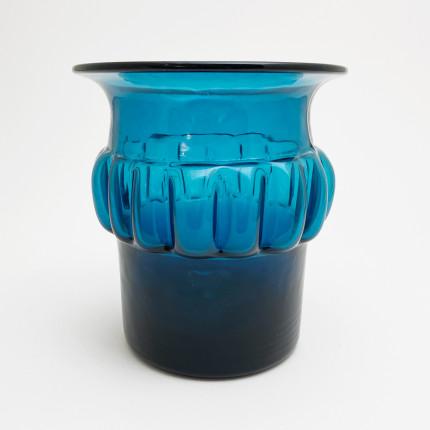 Vintage blue vase by Bertil Vallien for Boda Åfors