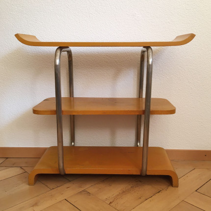 Bauhaus tubular steel and wood shelf