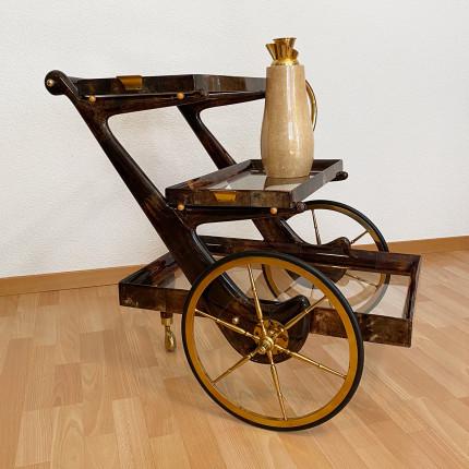 Tea trolley in lacquered goatskin by Aldo Tura, Milano