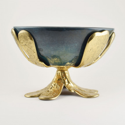 Vintage brass and ceramic bowl