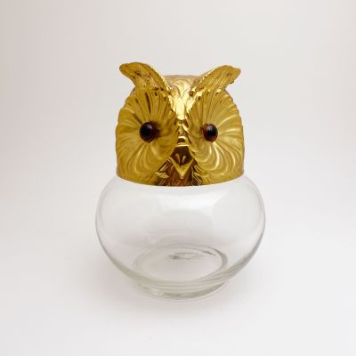 Glass and metal owl candy box_0
